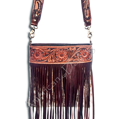 American Darling - Purse - Hair On Black and White Cowhide with Brown Fringe