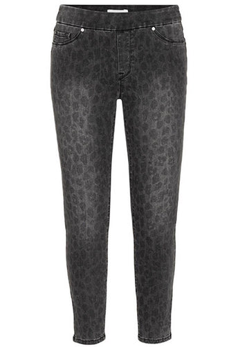 Tribal - Audrey Pull On Ankle Jegging - Black Faded Leopard