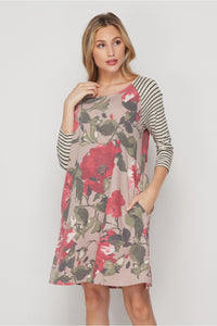 Taupe & Burgundy Floral Dress with Stripped Sleeves