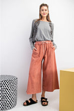Load image into Gallery viewer, Mineral Wash Wide Leg CAPRI Terry Knit Palazzo Pants - Secret Coral