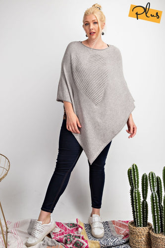 Heather Grey Asymmetrical Poncho with Heart Detail