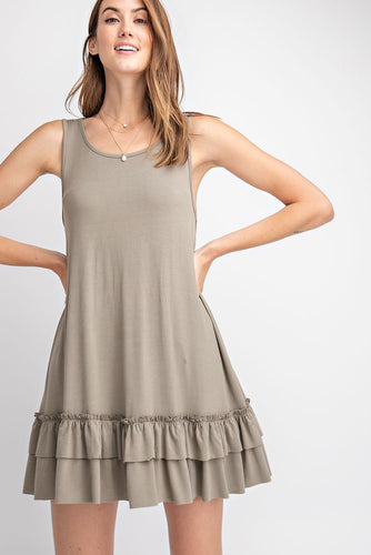 Sleeveless Cami with Ruffle Hem - Faded Olive