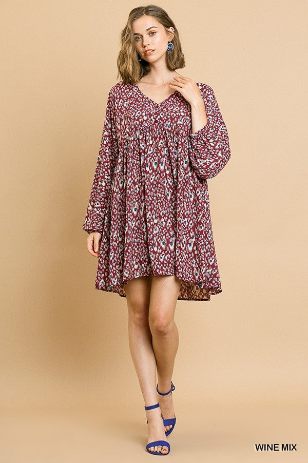 Wine Mix Animal Print Long Puff Sleeve V-Neck Babydoll Dress