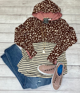 Brown and Ivory Cheetah and Stripped Hoodie