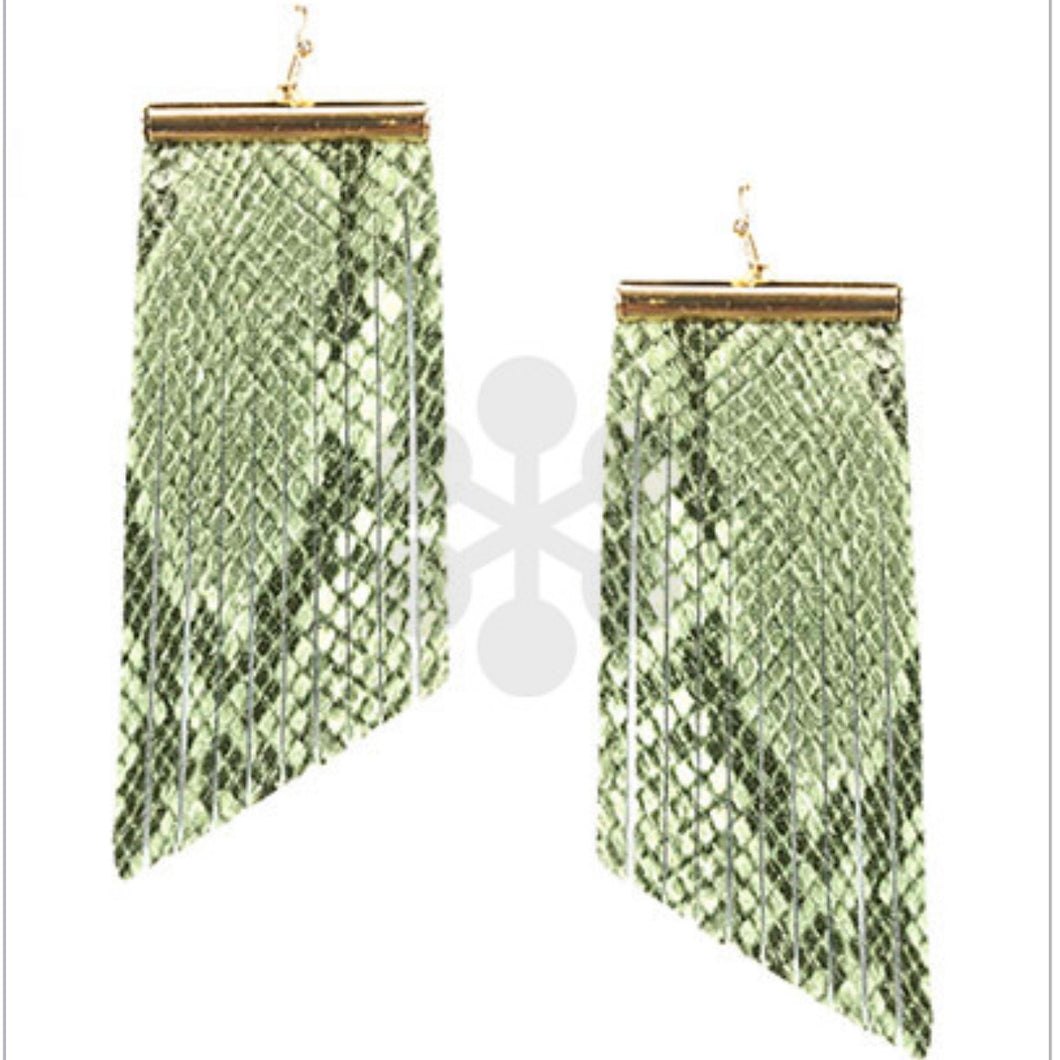 Mint Snakeskin Faux Leather Fringe Earrings