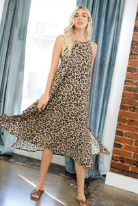 Mocha Leopard Sleeveless Midi Dress with Handkerchief Hem
