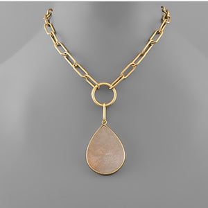 Gold Chain Tear Drop Stone Short Necklace - Peach