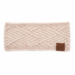 CC Diagonal Stripe Criss-Cross Knit Pattern Head Wrap - Beige Mix