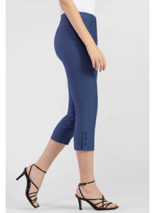 Tribal - Flatten It Snap Cuff Pull On Capris - Denim Blue