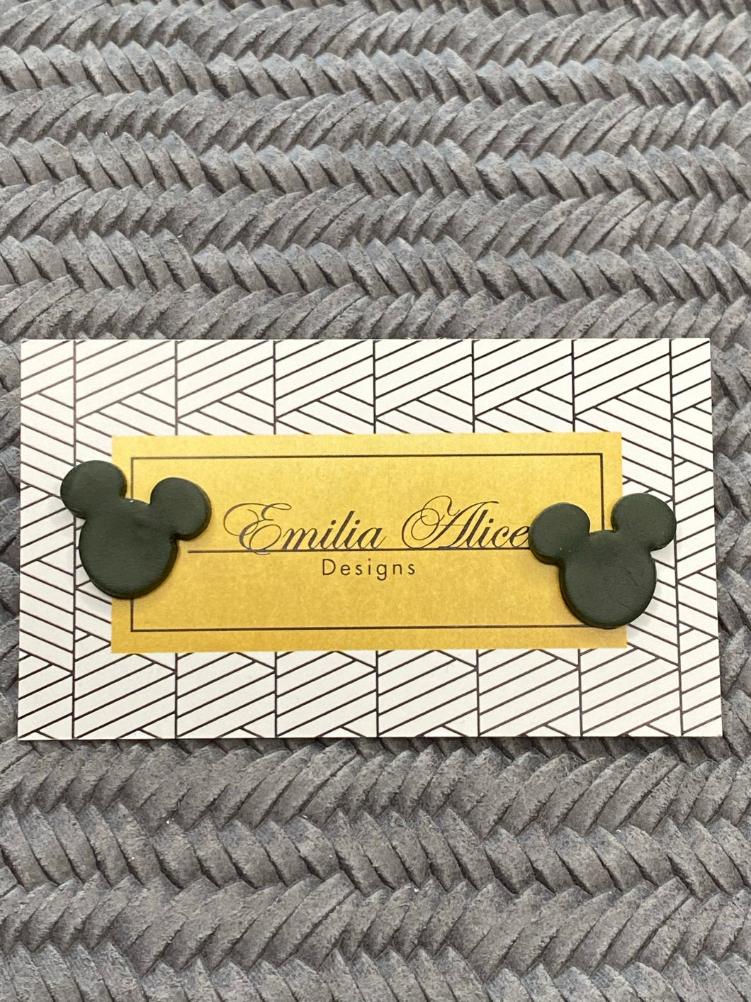 Emilia Alice Designs - Clay Stud Earrings -Mickey Mouse Ears - Black