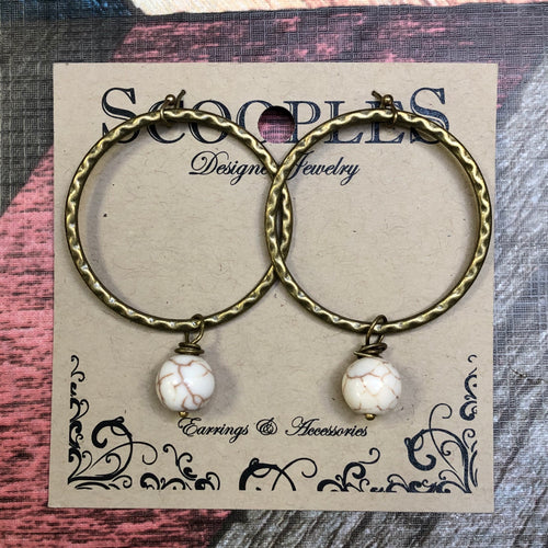 Scooples - Natural Marble Bead Dangling on a Hammered Gold Circle Earrings