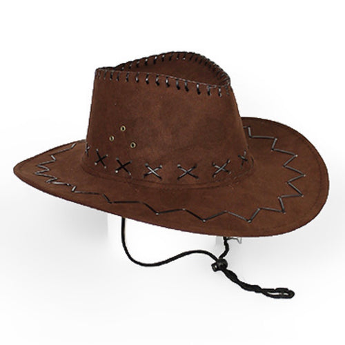 Vegan Leather Stitched Cowboy Hat - Brown
