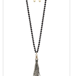 Wooden Beaded Necklace and Earring Set with Leather Tassel -Black with Black and White Snakeskin