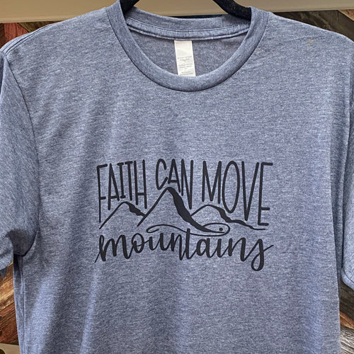Faith Can Move Mountains - Heathered Blue Crew Neck