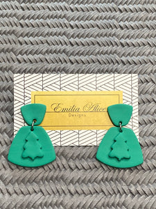 Emilia Alice Designs - Clay Earrings - Two Tiers with Christmas Tree - Bright Green