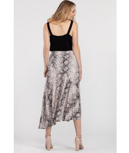 Tribal -Stone and Black Snakeskin Asymmetrical Skirt