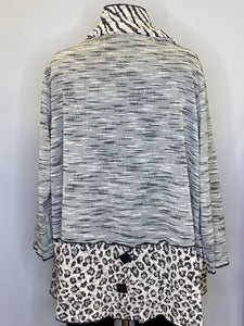 Ali Miles - Mixed Print White and Black Textured Jacquard 3/4 Sleeve Exposed Seam Jacket