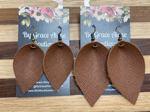 BGA Gems - Brown Saffiano Leather Leafs