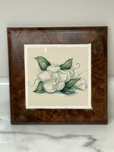 Handmade Black Walnut Trivet - Green & White Floral
