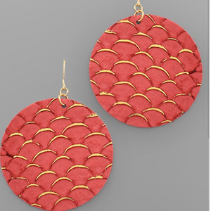 Brick Red Fish Scale Accent Faux Leather Earrings