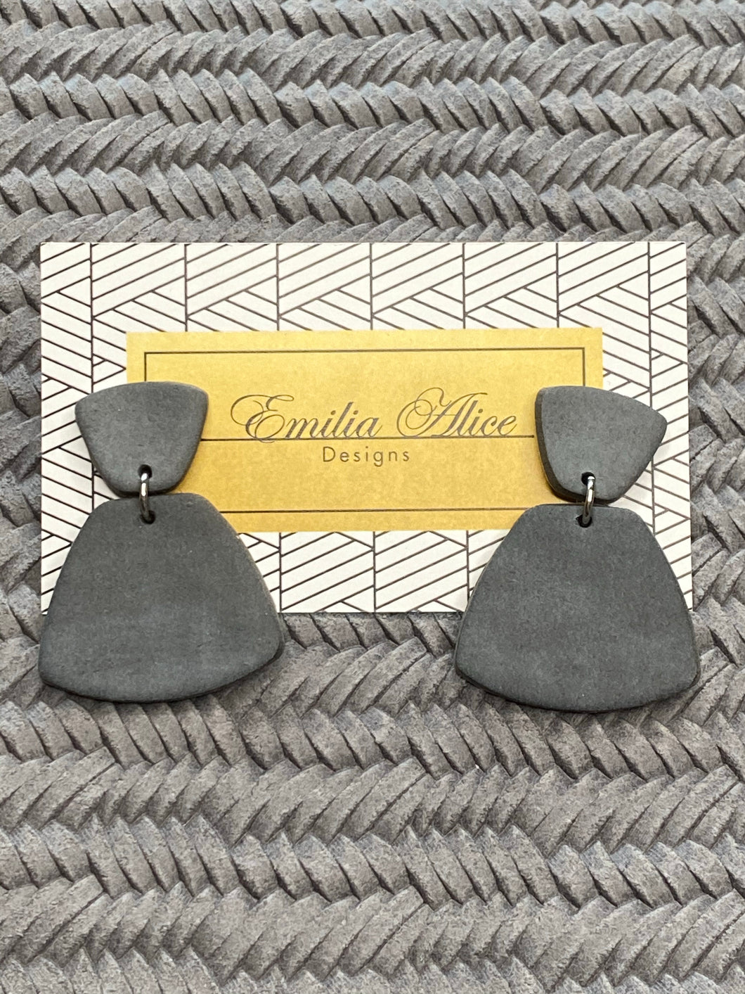 Emilia Alice Designs - Clay Earrings - Two Tiers in Grey