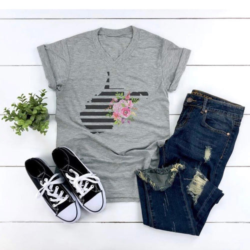 West Virginia Floral with Stripes - Grey Crew Neck