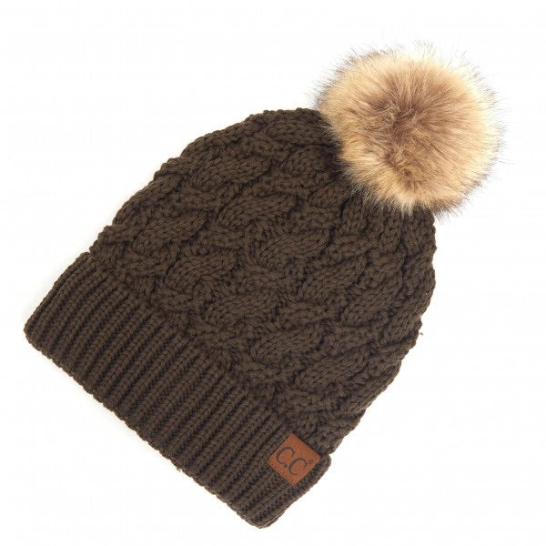 CC Adult Twisted Knit Pom Beanie Featuring Faux Fur Inside Lining - New Olive