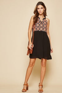 Black Black Sleeveless Dress with Floral Embroidery