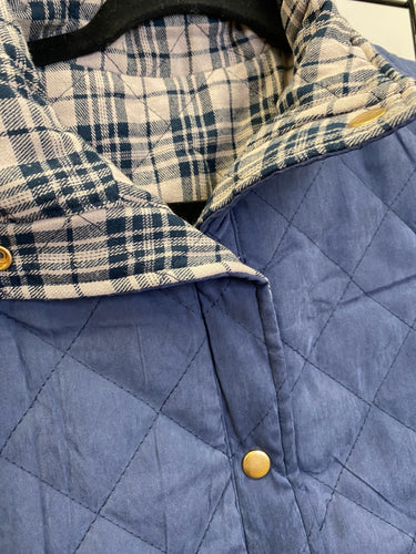 Blue and Plaid Reversible Vest