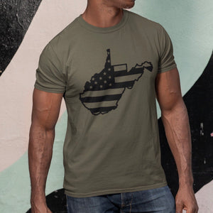West Virginia with American Flag - Heathered Olive  V Neck