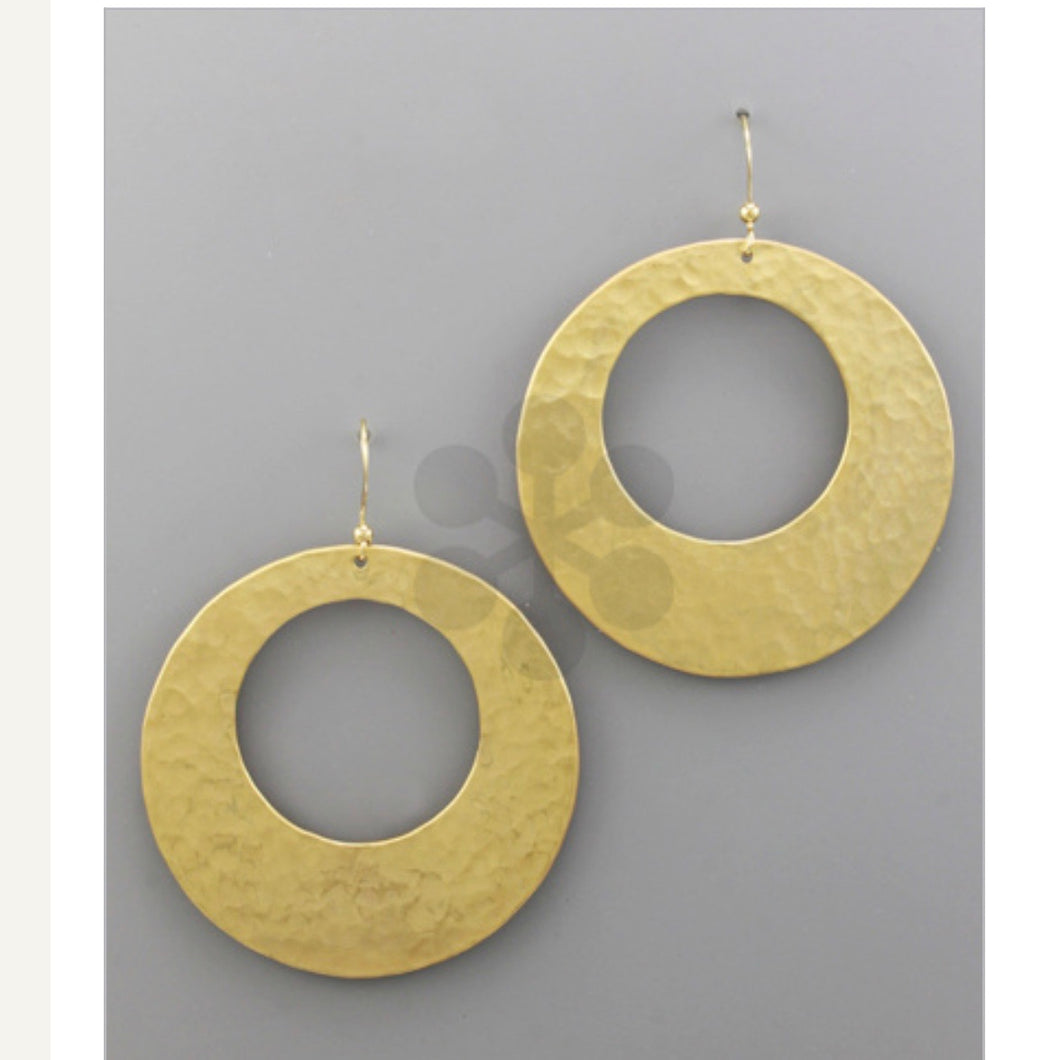Hammered Metal Circle Earrings - Gold