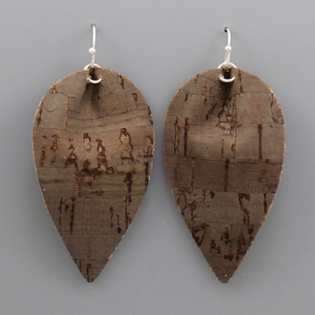 Brown Faux Leather Cork Leaf Shaped Earrings