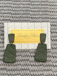 Emilia Alice Designs - Clay Earrings - Two Tiers Stamped - Dark Olive