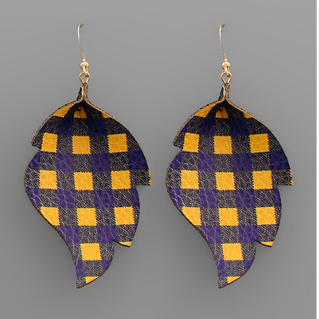Gold and Blue Plaid Leaf Earrings
