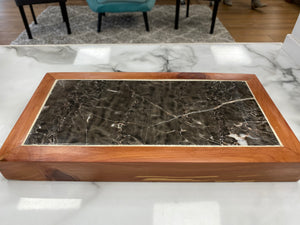 Handmade Cedar Hot Plate or Table Display- Marbled Natural Stone