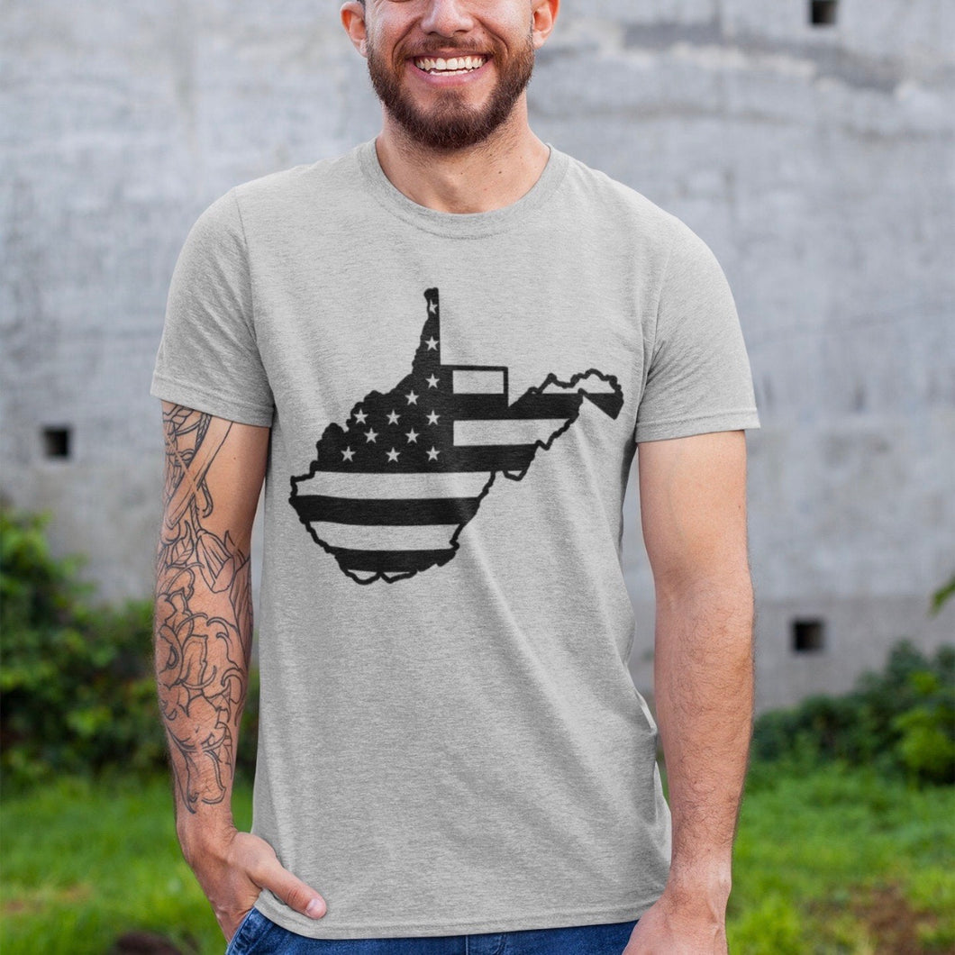 West Virginia with American Flag - Grey Crew Neck