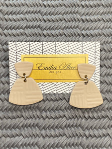 Emilia Alice Designs - Clay Earrings - Two Tiers in Taupe