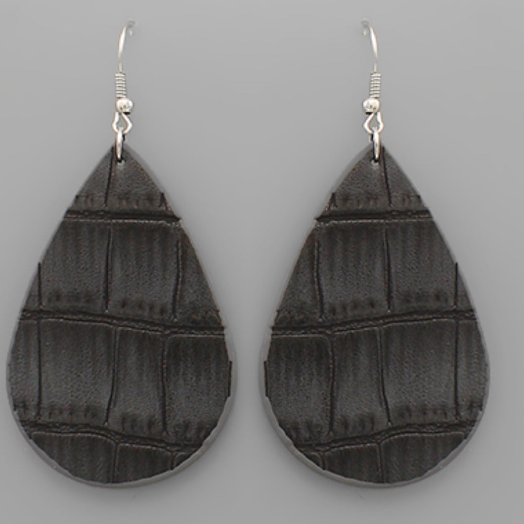 Grey Faux Leather Tear Drop Earrings