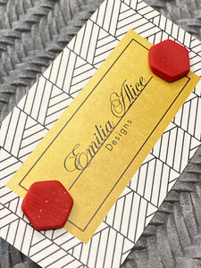 Emilia Alice Designs - Clay Stud Earrings - Red Octagons