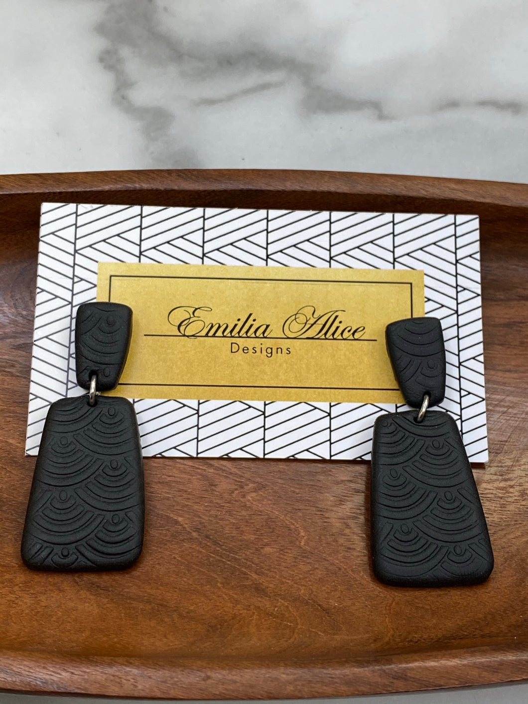 Emilia Alice Designs - Clay Earrings - Two Tiers with Stamped Bar in Black