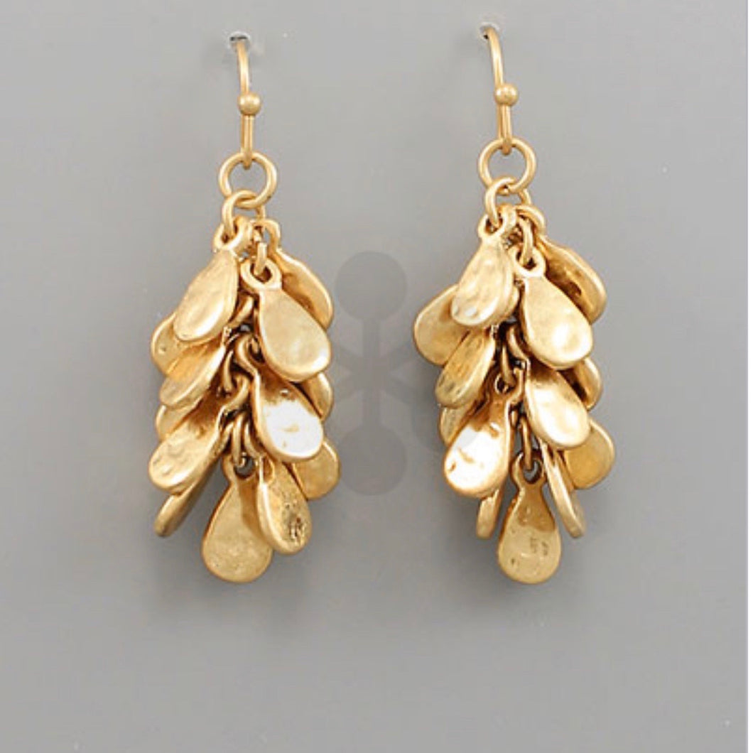 Hammered Gold Hanging Cluster Earrings