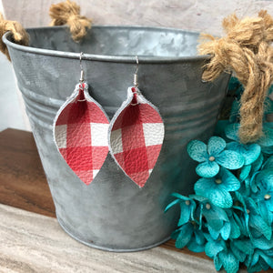 Red & White Buffalo Plaid-Leaf
