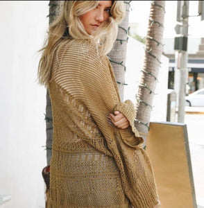 Knit Netted Light Weight Cardigan - Bronze