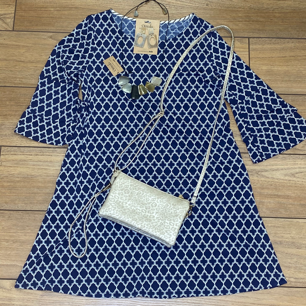Navy with White Terrace Detail Dress