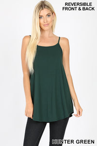 Hunter Green V-Neck or Scoop Neck Reversible Cami