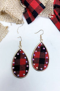 Buffalo Plaid Rhinestone Earrings