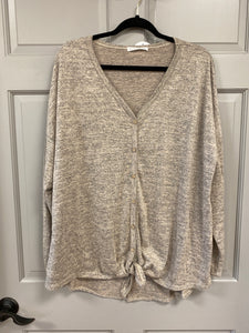 Sand Hacci Tie Front Long Sleeve Tunic