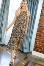 Load image into Gallery viewer, Mocha Leopard Sleeveless Midi Dress with Handkerchief Hem