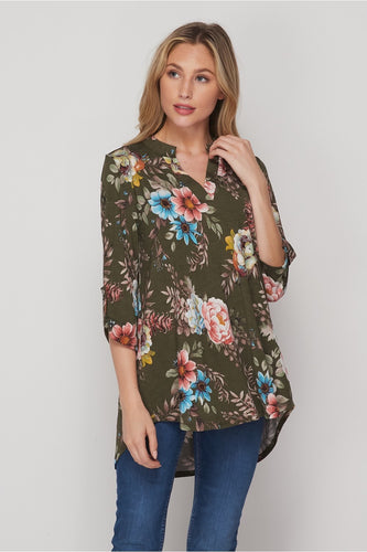 Olive and Plum Floral Gabby Tunic