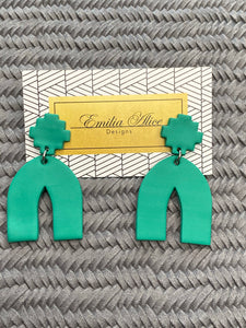 Emilia Alice Designs - Clay Earrings - Arch in Bright Teal